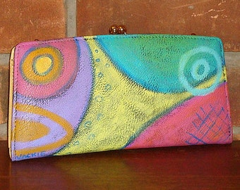 Colorful Abstract Art Hand Painted Clutch Purse Handbag