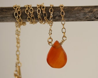 Dainty, Understated and Simple Orange Carnelian Briolette Necklace