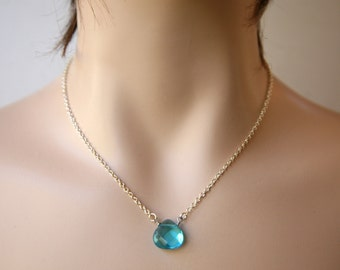 Dainty and Simple Faceted Aquamarine Teardrop Briolette Necklace