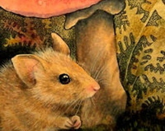 Fall Mouse Miniature Art by Melody Lea Lamb ACEO Print #399