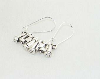 Antique silver binocular charm dangle earrings, bird watcher, boater, jewelry