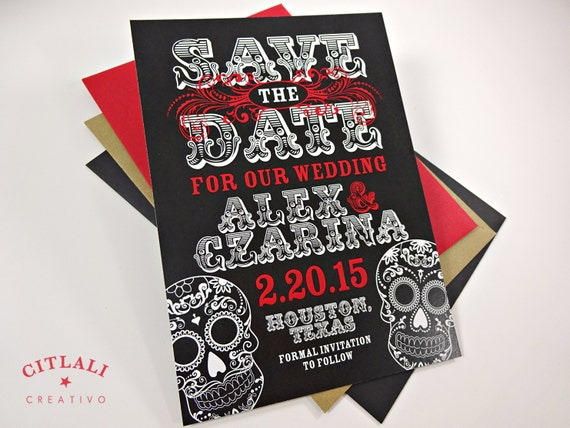 Day Of The Dead Wedding Invitations: Day Of The Dead Wedding Save The Date Dia De Los By Citlali
