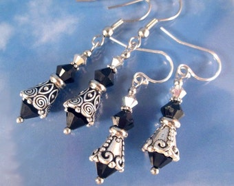 Black Ice Silver Earrings Swarovski Crystals Steel or Sterling Silver Ear Wires Birthstone Colors