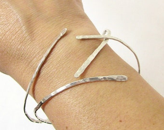 Hammered Sterling Silver Nail Bangle Set - Nail Bracelet - Christian Jewelry - Pierced Collection