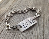 Texas LOVE Bracelet   Handstamped State Outline Map Word   FREE SHIPPING