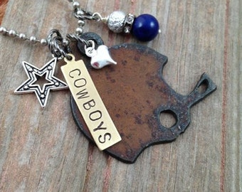 I Love Football Necklace for Dallas Cowboy Fans - Rustic Football Helmet Heart Charm Handstamped Tag Blue Texas Star Charm