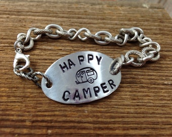 Happy Camper Bracelet - Antiqued Silver Chain, Hand Stamped Aluminum Tag, Lobster Clasp
