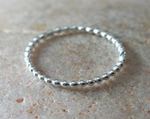 Beaded Stacking Ring with 2 Solder Joints in Sterling Silver, Size 5, Minimalist Ring, Solitaire Ring, Womens Ring, NBHA Animal Charity