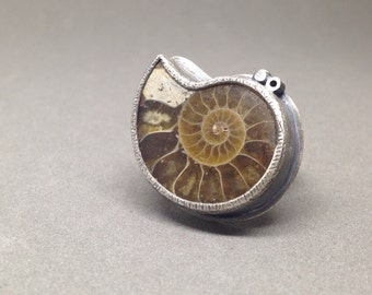 ammonite eclectic cocktail ring jewelry oxidized sterling jaime jo fisher nature fossil outdoors lover