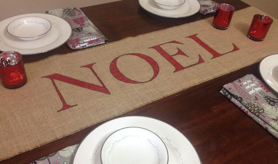 NOEL burlap table runner for Christmas and holiday table decoration or inexpensive hostess gift idea
