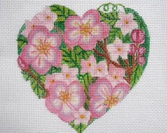 "Hand Painted Needlepoint canvas 4"" Valentine Flowered Heart"