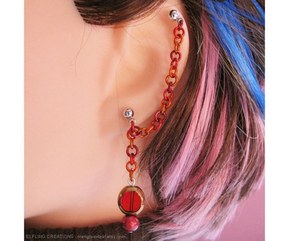 Fire Dragon Eye Jewelry, Cartilage to Lobe Earring, Double Piercing or Ear Cuff - Red and Orange