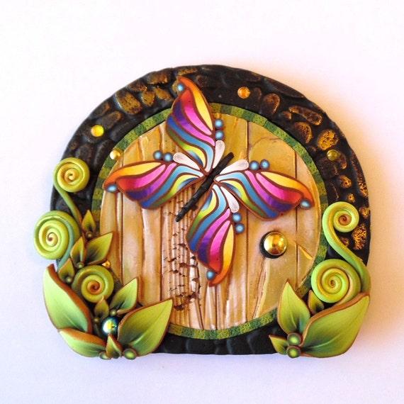 Rainbow butterfly fairy door pixie portal fairy garden for Rainbow fairy door