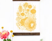 Wall Art - Hanging Canvas Art Print - Inspired by Vintage Botanical Charts and Vintage Science Posters, Fine Art Print, Art Poster - Yellow