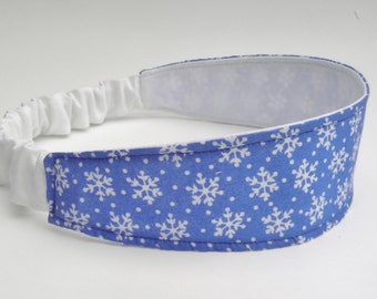 Snowflake Headband, Blue and White Headband, Reversible Head Wrap, Adult Headband, Soft Hairband, Wide Head Wrap, Stocking Stuffer for Women