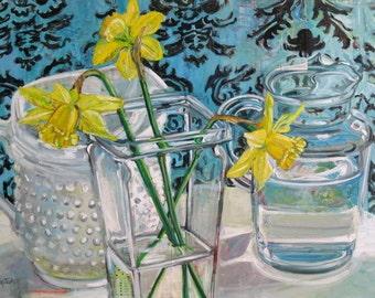 Large Still Life 30 inch by 40 inch original painting by Polly Jones free shipping