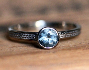 Aquamarine engagement ring, braided engagement ring, wheat ring, March birthstone ring, bezel, 14k white gold engagement ring, custom made
