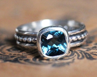 London blue topaz ring, bezel engagement ring, December birthstone ring, anniversary ring, gift for her, Blue crush, ready to ship sz 6.5