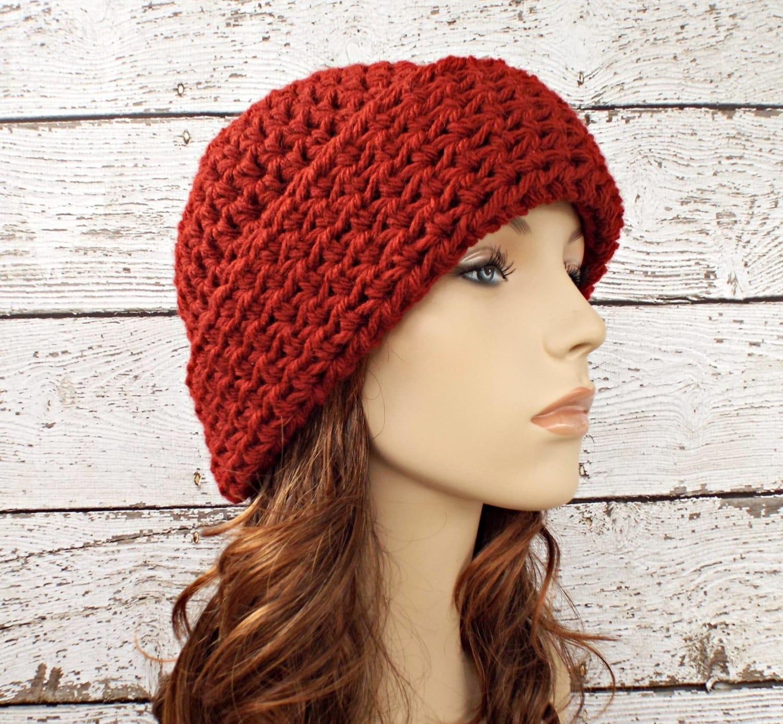 Crochet Hat Pattern With Cuff : Red Crochet Hat Red Womens Hat Wide Cuff Beanie Hat Redwood