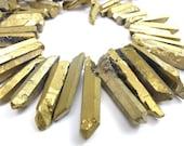 Electroplated Titatnium Coated Rough Quartz Beads - Gold  (6x) (NS810)