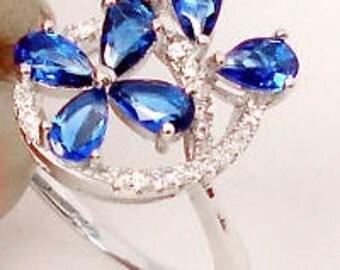 Ocean Blue Sapphire Quartz - White Topaz - Sterling Silver Ring - Floral Design