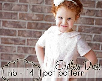 Girls Endless Dress - INSTANT DOWNLOAD - nb through 14 + doll - pdf sewing pattern