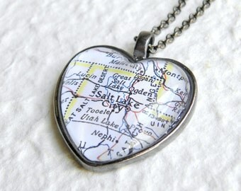 Salt Lake City Map Necklace - Choose your favorite map from 25 map choices - Also featuring Ogden, Bountiful, Provo, Park City, Sandy Utah