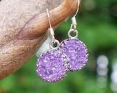 Recycled Amethyst Bottle Druzy Glass Earrings/Druzy Jewelry/Lavender/Repurposed Jewelry/Old Bottles/Handmade/Eco Friendly Jewelry/Mom Gifts