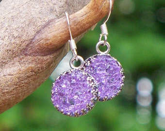 Recycled Amethyst Bottle Druzy Glass Earrings/Druzy Jewelry/Lavender/Repurposed Jewelry/Old Bottles/Handmade/Eco Friendly Jewelry/Mom Gifts
