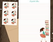 Personalized Stationery - Mini Letter Writing Set - Library Girl - Cute Kids Stationery Set Library Books Reading Librarian Teacher gift