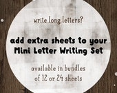 Extra Mini Letter Writing Sheets - sets of 12 or 24 stationery sheets - add on item