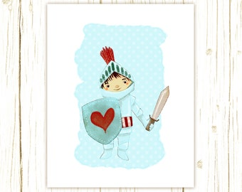 Little Boy's Wall Art - The Little Knight Print - Kids Room or Nursery Decor - Children's Wall Art