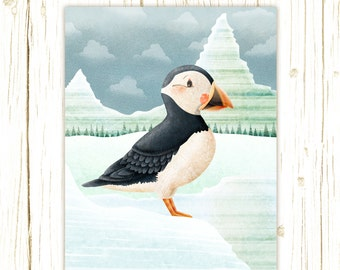 puffin art print -- Arctic Friends Puffin --  bird artwork, nursery, kids art, childrens room art, polar, winter, ice