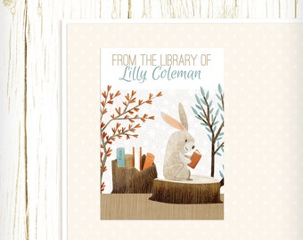 Personalized Bookplates - Bookish Forest Bunny- Set of 18 - kids bookplates orange blue woodland animal rabbit