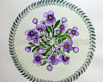Violets Bouquet Mandala Watecolor Original Painting