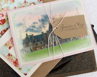 Vellum Overlay Vintage Wedding Invitation (Biltmore Estate) - Design Fee