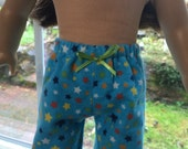 American Girl Doll Clothes - Flannel Pajama Pants - Turquoise  with Stars