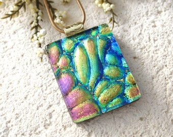 Pink Blue Green Necklace - Rainbow Necklace - Fused Glass Jewelry - Dichroic Glass Necklace - Glass Pendant - Dichroic Jewelry -122714p101