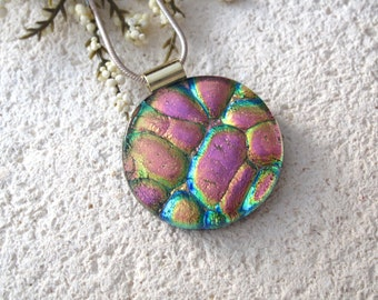 Pink Gold Green Necklace, Rainbow Necklace, Fused Glass Jewelry, Dichroic Glass, Gold Necklace, Glass Pendant, Dichroic Jewelry -020515p103