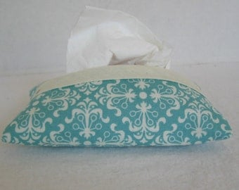 Teal Tissue Holder - Pocket Tissue Cozy - Modern Print Tissue Case