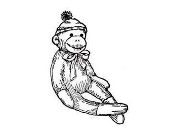 SUPER CLEARANCE Sitting and Smiling Sock Monkey Rubber Stamp RIGHT