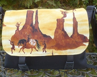 Kokopelli Mini Messenger Bag, cross body bag, small purse, The Zeldina