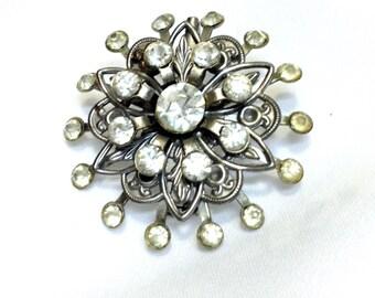 Vintage  Silver Rhinestone  Brooch