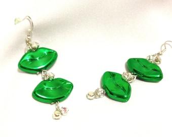 St Paddy's Day Green Kiss Lips Rhinestone Earrings  Irish Kisses