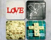 Valentine Photo Coasters - Scrabble and Graffiti four square photo coasters 9x9 cm photographs street art urban city walls stencil Scrabble