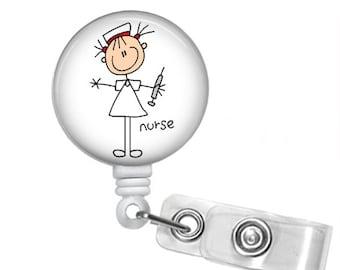 NURSE STICK FIGURE Retractable Badge Reel