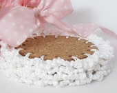 White Cork & Lace Drink Coasters, Crochet Candle Pads, Set of 4 Cottage Chic Beverage Coasters