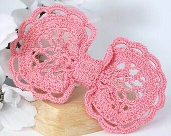 Dark Pink Lace Hair Bow Clip, Crochet Girls, Teen, Women's Hair Clip Accessory