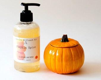 Pumpkin Spice Hand Soap, Body Wash, Now All Natural Castile Soap, Handmade Liquid Soap 8.5 Ounces, Organic Raw Cocoa Butter, Hostess Gift