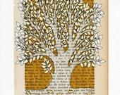 Tree   - Original ink drawing - illustration on vintage book page - mustard yellow
